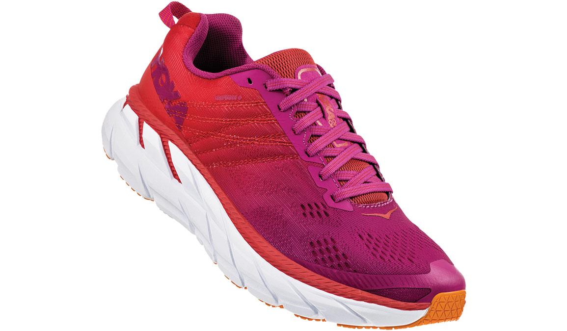 Women's Hoka One One Clifton 6 Running Shoe - Color: Poppy Red/Cactus Flower (Regular Width) - Size: 5, Poppy Red/Cactus Flower, large, image 2