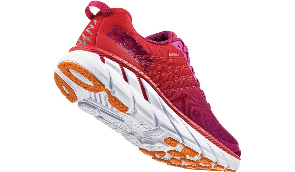 Women's Hoka One One Clifton 6 Running Shoe - Color: Poppy Red/Cactus Flower (Regular Width) - Size: 5, Poppy Red/Cactus Flower, large, image 3