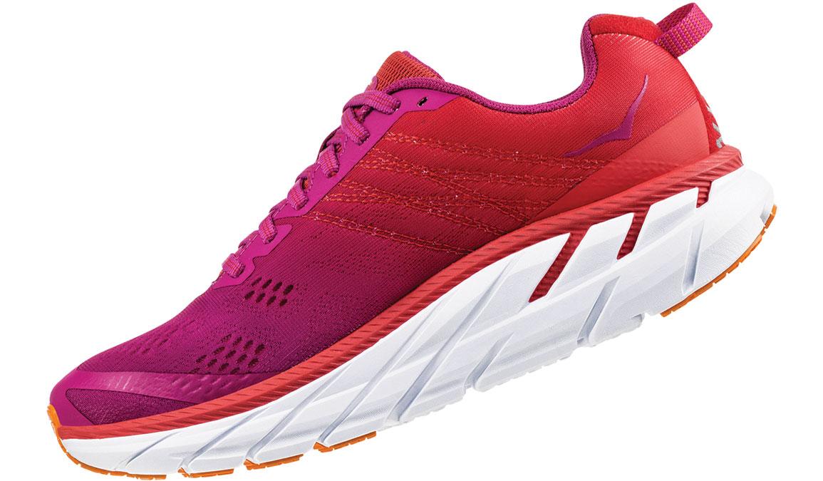 Women's Hoka One One Clifton 6 Running Shoe - Color: Poppy Red/Cactus Flower (Regular Width) - Size: 5, Poppy Red/Cactus Flower, large, image 4