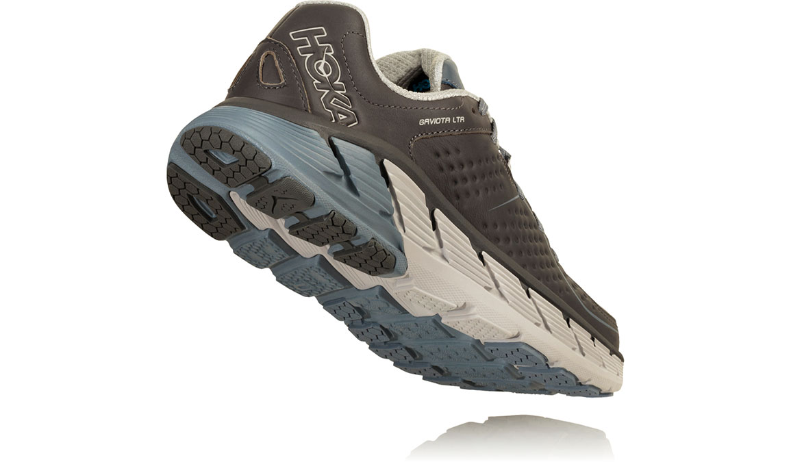 Women's Hoka One One Gaviota Leather Running Shoe - Color: Charcoal/Tradewinds (Regular Width) - Size: 8, Charcoal/Tradewinds, large, image 3