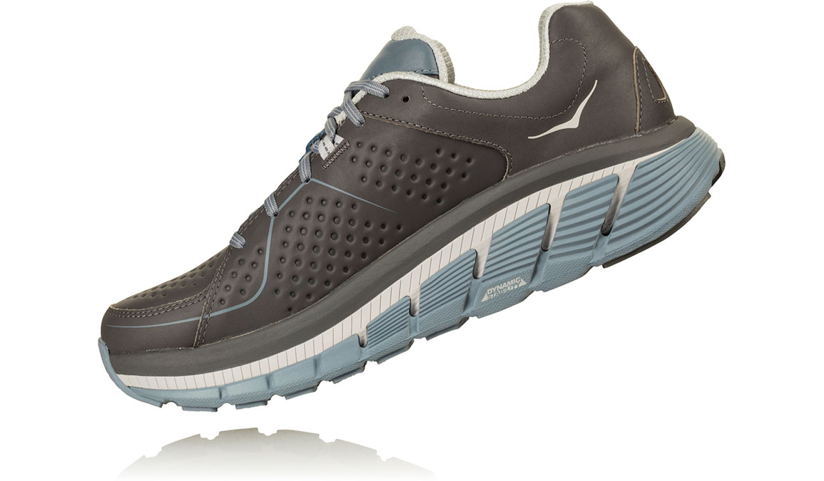 Women's Hoka One One Gaviota Leather Running Shoe - Color: Charcoal/Tradewinds (Regular Width) - Size: 8, Charcoal/Tradewinds, large, image 4
