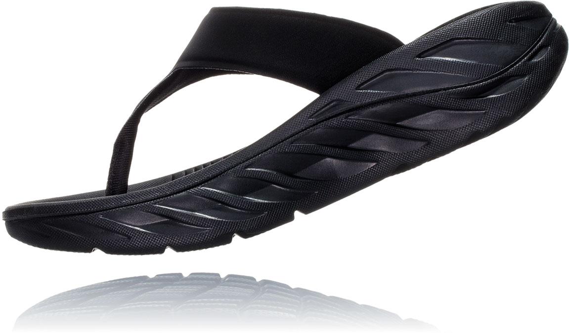 Women's Hoka One One Ora Recovery Flip 2 - Color: Black/Dark Gull Grey (Regular Width) - Size: 5, Black/Dark Gull Grey, large, image 4