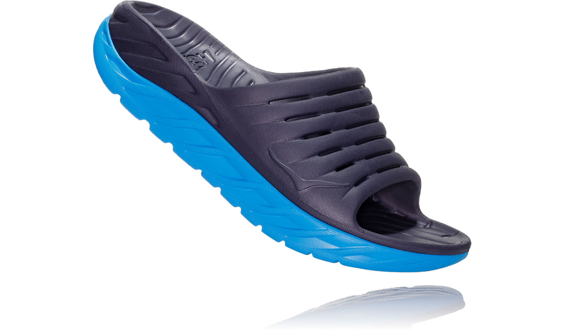 Women's Hoka One One Ora Recovery Slide 2 - Color: Ebony/Dresden Blue (Regular Width) - Size: 5, Ebony/Dresden Blue, large, image 2