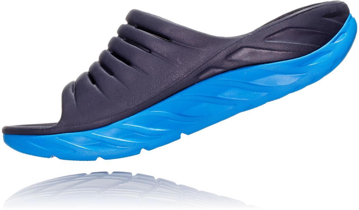 Women's Hoka One One Ora Recovery Slide 2 - Color: Ebony/Dresden Blue (Regular Width) - Size: 5, Ebony/Dresden Blue, large, image 4
