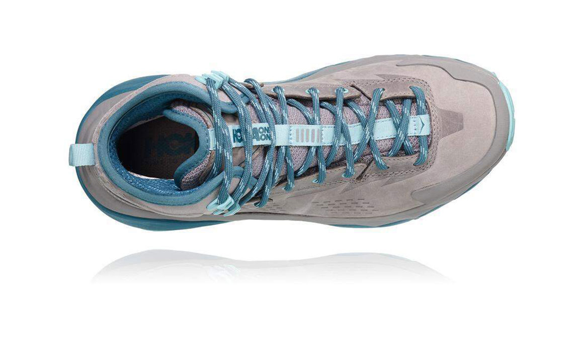 Women's Hoka One One Sky Kaha Gtx Trail Running Shoe - Color: Frost Gray/Aqua Haze (Regular Width) - Size: 7.5, Frost Gray/Aqua Haze, large, image 4