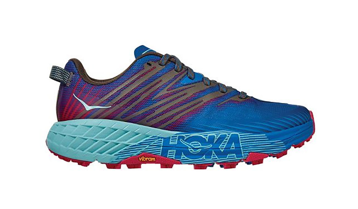 Women's Hoka One One Speedgoat 4 Trail Running Shoe - Color: Imperial Blue/Pink Peacock (Regular Width) - Size: 5, Imperial Blue/Pink Peacock, large, image 1