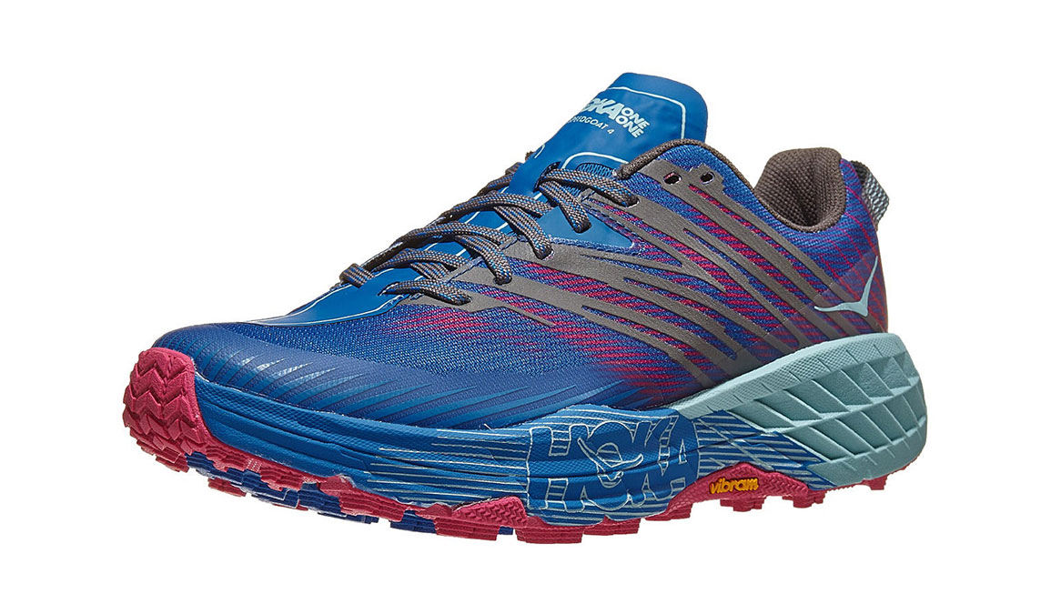 Women's Hoka One One Speedgoat 4 Trail Running Shoe - Color: Imperial Blue/Pink Peacock (Regular Width) - Size: 5, Imperial Blue/Pink Peacock, large, image 3