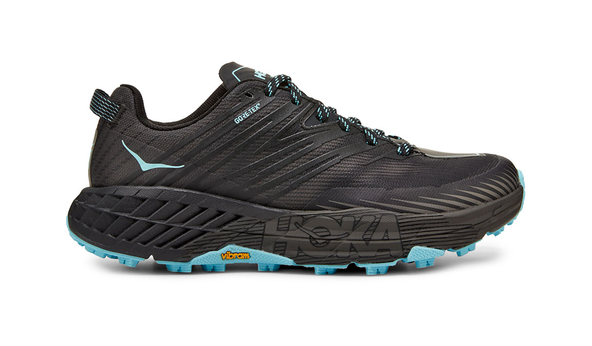 Women's Hoka One One Speedgoat 4 Gore-Tex Trail Running Shoe - Color: Anthracite/Dark Gull Grey (Regular Width) - Size: 5, Anthracite/Dark Gull Grey, large, image 1