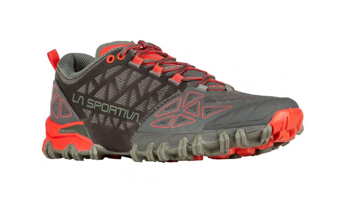 Women's La Sportiva Bushido II Trail Running Shoe - Color: Carbon/Hibiscus (Regular Width) - Size: 8, Grey/Red, large, image 2
