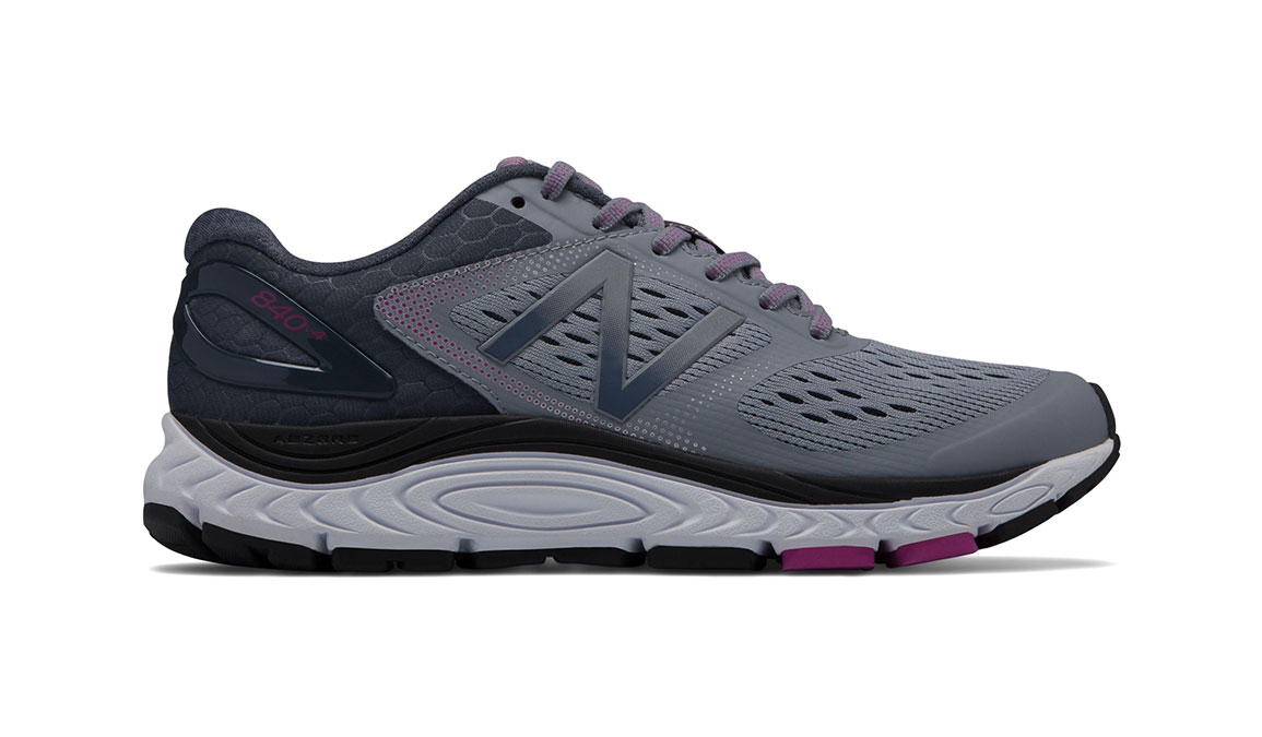 Women's New Balance 840v4 Running Shoe - Color: Cyclone/Poisonberry (Regular Width) - Size: 7.5, Grey/Pink, large, image 1