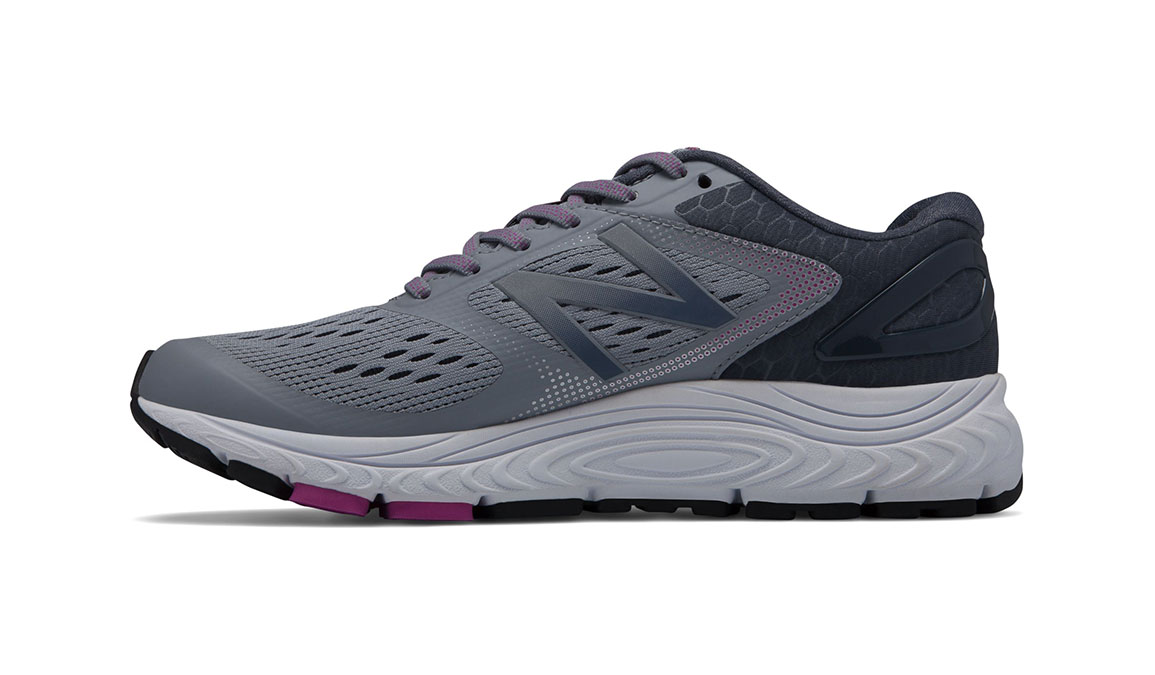 Women's New Balance 840v4 Running Shoe - Color: Cyclone/Poisonberry (Regular Width) - Size: 7.5, Grey/Pink, large, image 2