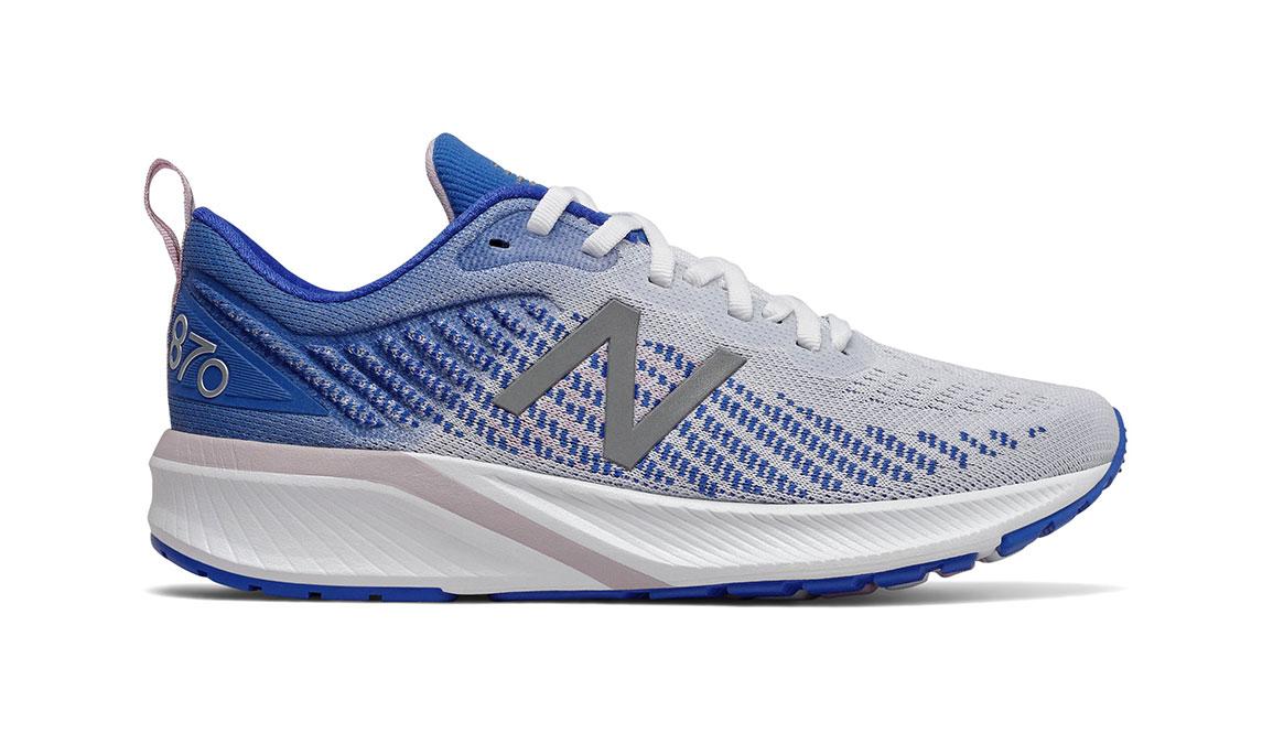 Women's New Balance 870v5 Running Shoe - Color: White/Vivid Cobalt/Oxygen Pink (Regular Width) - Size: 5, White/Blue, large, image 1