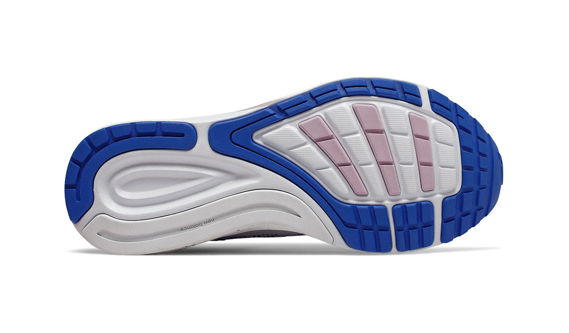 Women's New Balance 870v5 Running Shoe - Color: White/Vivid Cobalt/Oxygen Pink (Regular Width) - Size: 5, White/Blue, large, image 4
