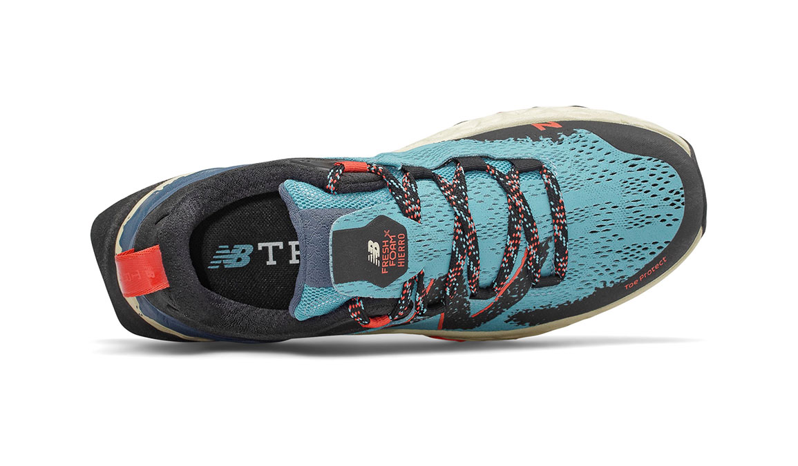 Women's New Balance Fresh Foam Hierro v5 Trail Running Shoe - Color: Wax Blue (Regular Width) - Size: 7, Blue/Red, large, image 3
