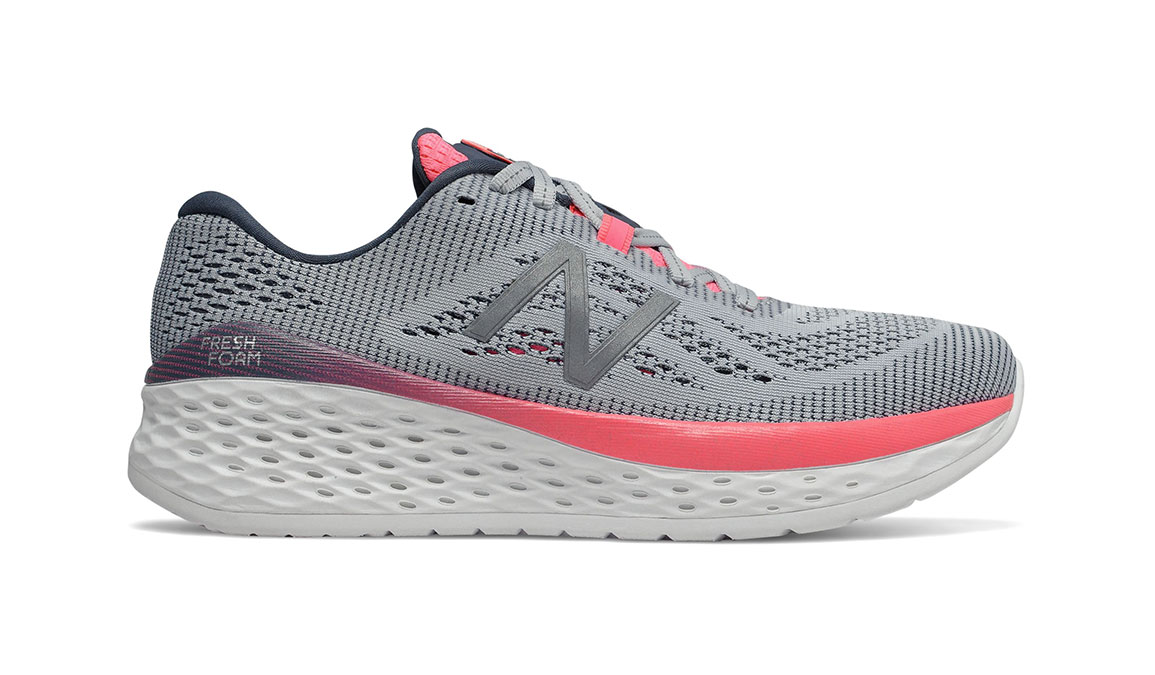 Women's New Balance Fresh Foam More Running Shoe - Color: Light Cyclone/Guava (Extra Wide Width) - Size: 9, Grey/Pink, large, image 1