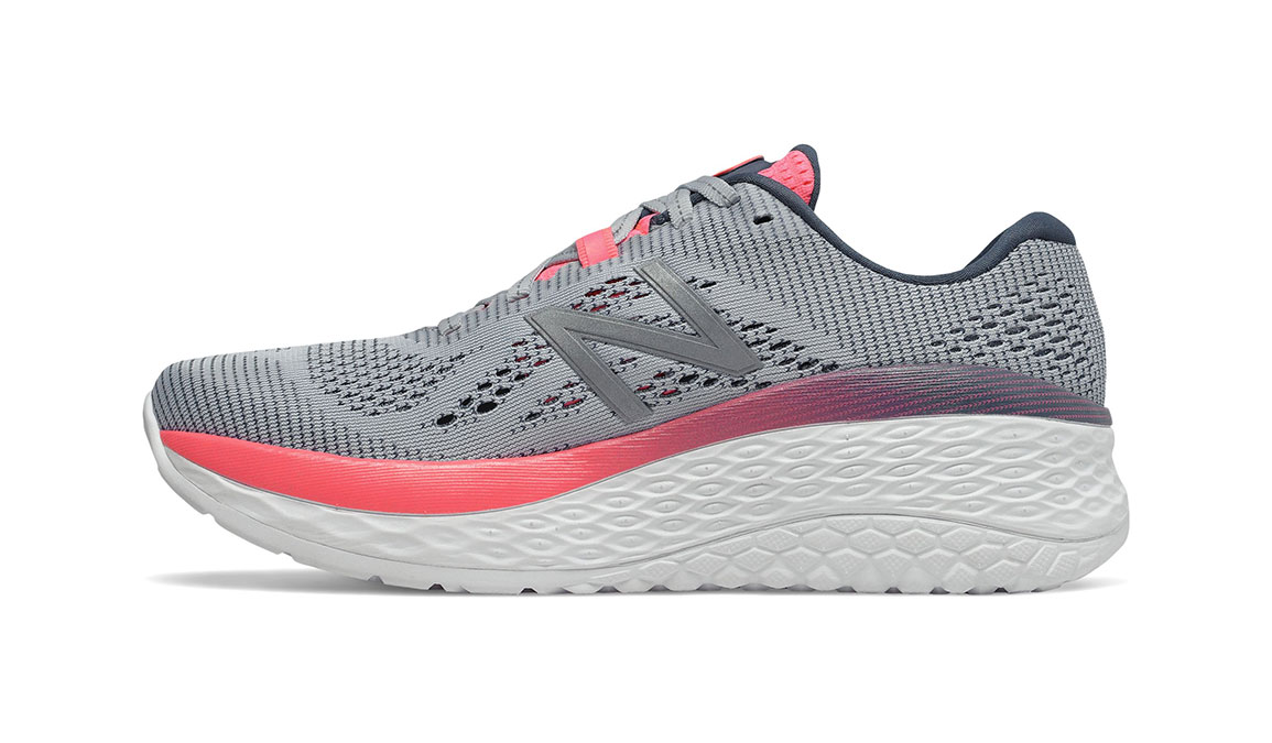 Women's New Balance Fresh Foam More Running Shoe - Color: Light Cyclone/Guava (Extra Wide Width) - Size: 9, Grey/Pink, large, image 2