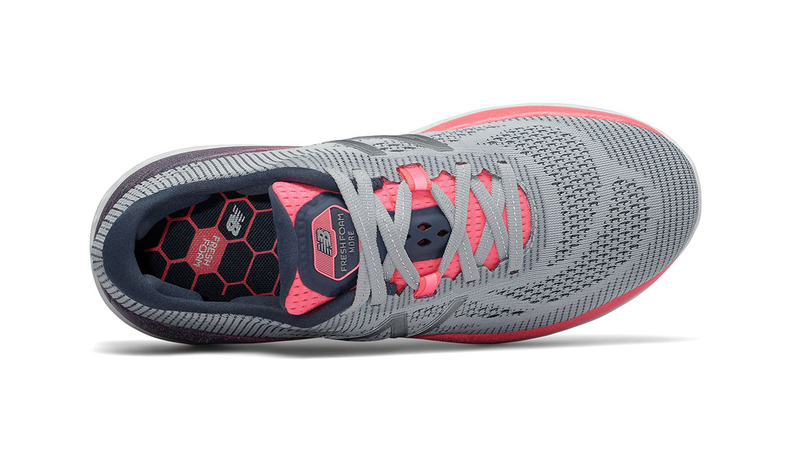 Women's New Balance Fresh Foam More Running Shoe - Color: Light Cyclone/Guava (Extra Wide Width) - Size: 9, Grey/Pink, large, image 3