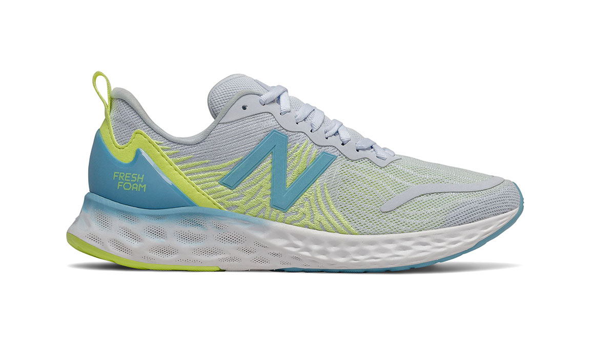 Women's New Balance Fresh Foam Tempo Running Shoe - Color: Moon Dust/Bali Blue/Lemon Slush (Regular Width) - Size: 6.5, Grey/Blue, large, image 1