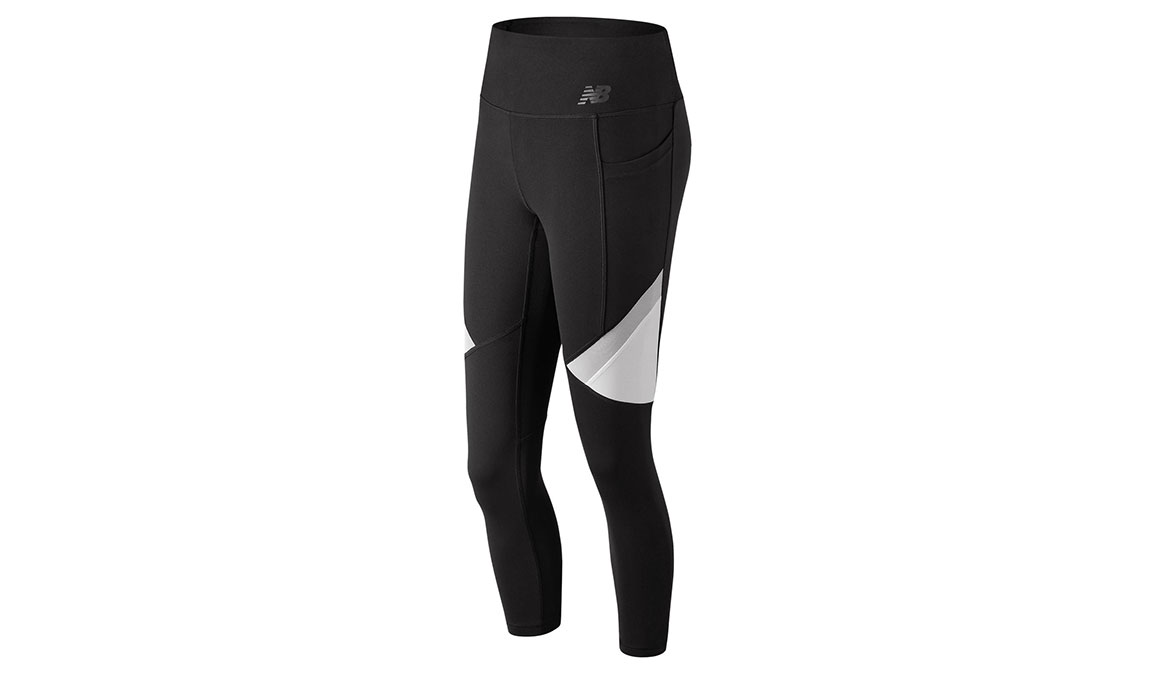 Women's New Balance High Rise Transform Pocket Crop Tights - Color: Black/White Size: XS, Black/White, large, image 1