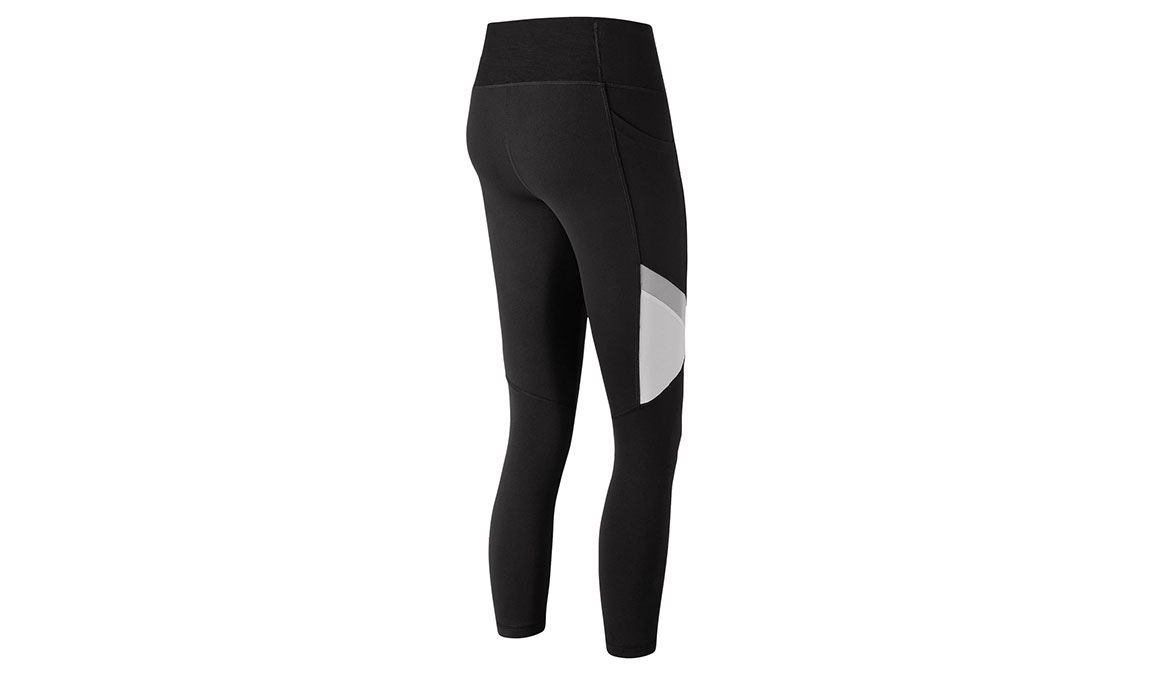 Women's New Balance High Rise Transform Pocket Crop Tights - Color: Black/White Size: XS, Black/White, large, image 2