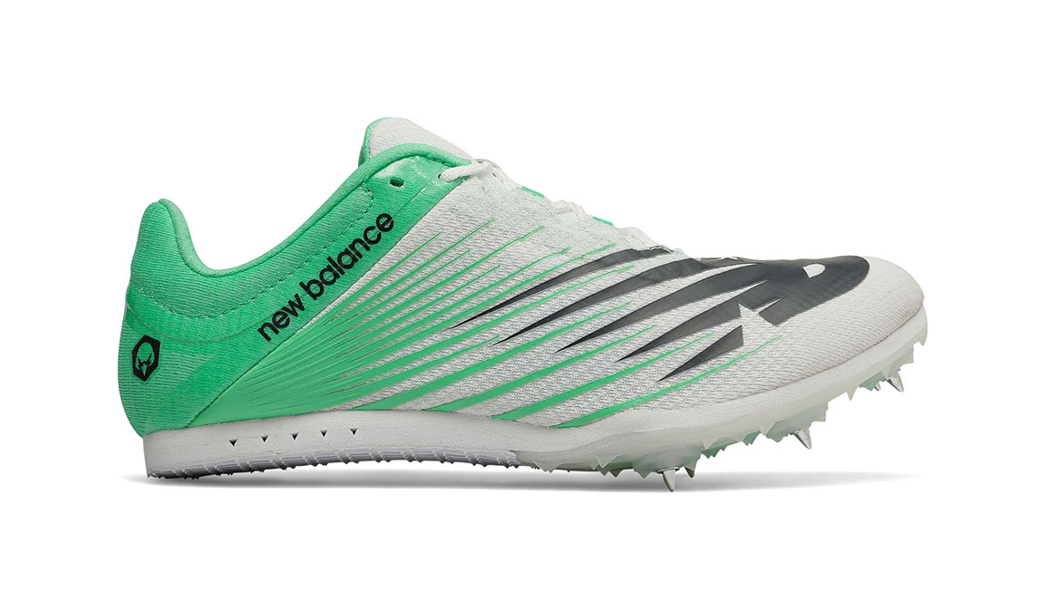 Women's New Balance MD500v6 Track Spike - Color: White/Neon Emerald (Regular Width) - Size: 6.5, White/Green, large, image 1