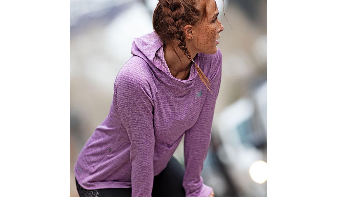 Women's New Balance NB Heatgrid Hoodie - Color: Kite Purple Size: XS, Purple, large, image 3