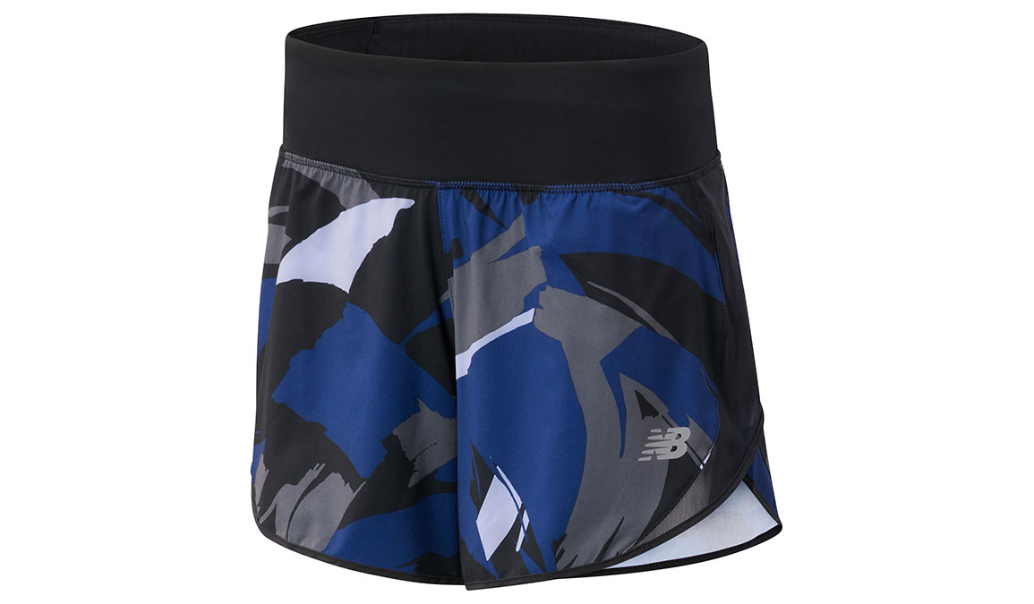 "Women's New Balance Printed Impact Short 5"" - Color: Techtonic Blue/Outerspace Size: S, Blue/Black, large, image 1"