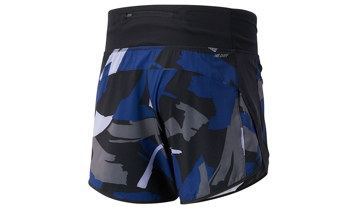 "Women's New Balance Printed Impact Short 5"" - Color: Techtonic Blue/Outerspace Size: S, Blue/Black, large, image 2"