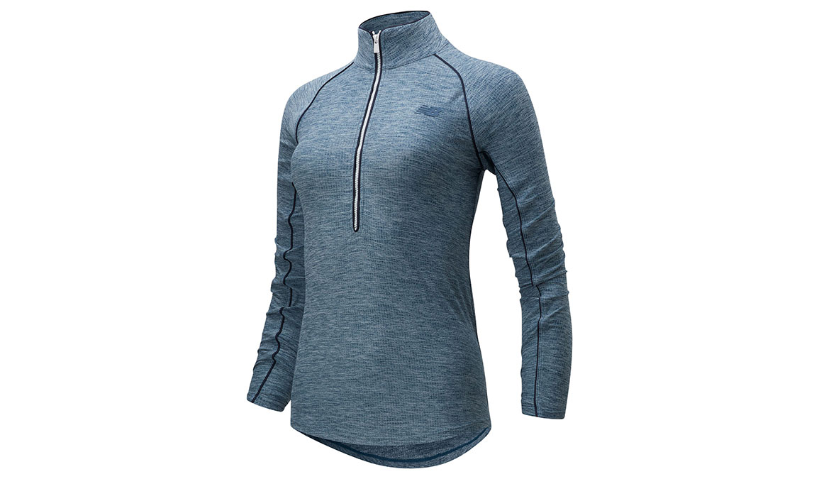 Women's New Balance Transform 1/2 Zip - Color: Stone Blue Heather Size: XS, Blue Heather, large, image 1