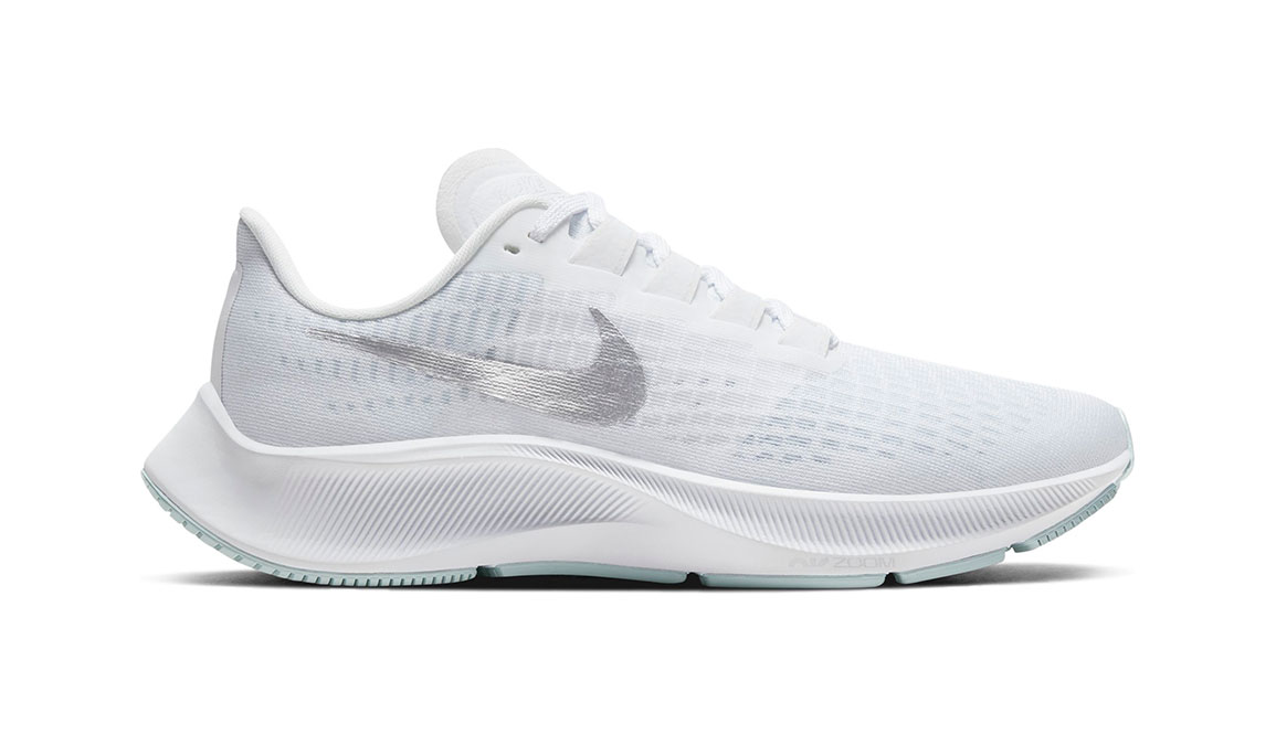 Women's Nike Air Zoom Pegasus 37 Running Shoe - Color: White/Metallic Silver-Aura (Regular Width) - Size: 5.5, White/Metallic Silver/Aura, large, image 1