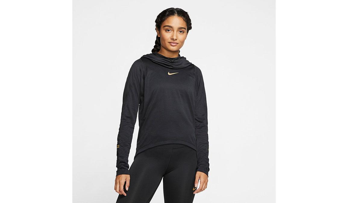 Women's Nike Long-Sleeve Hoodie Top - Color: Black/Metallic Gold Size: XS, Black/Metallic Gold, large, image 1