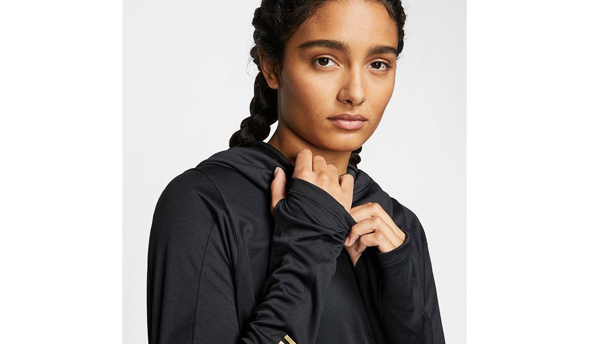 Women's Nike Long-Sleeve Hoodie Top - Color: Black/Metallic Gold Size: XS, Black/Metallic Gold, large, image 3