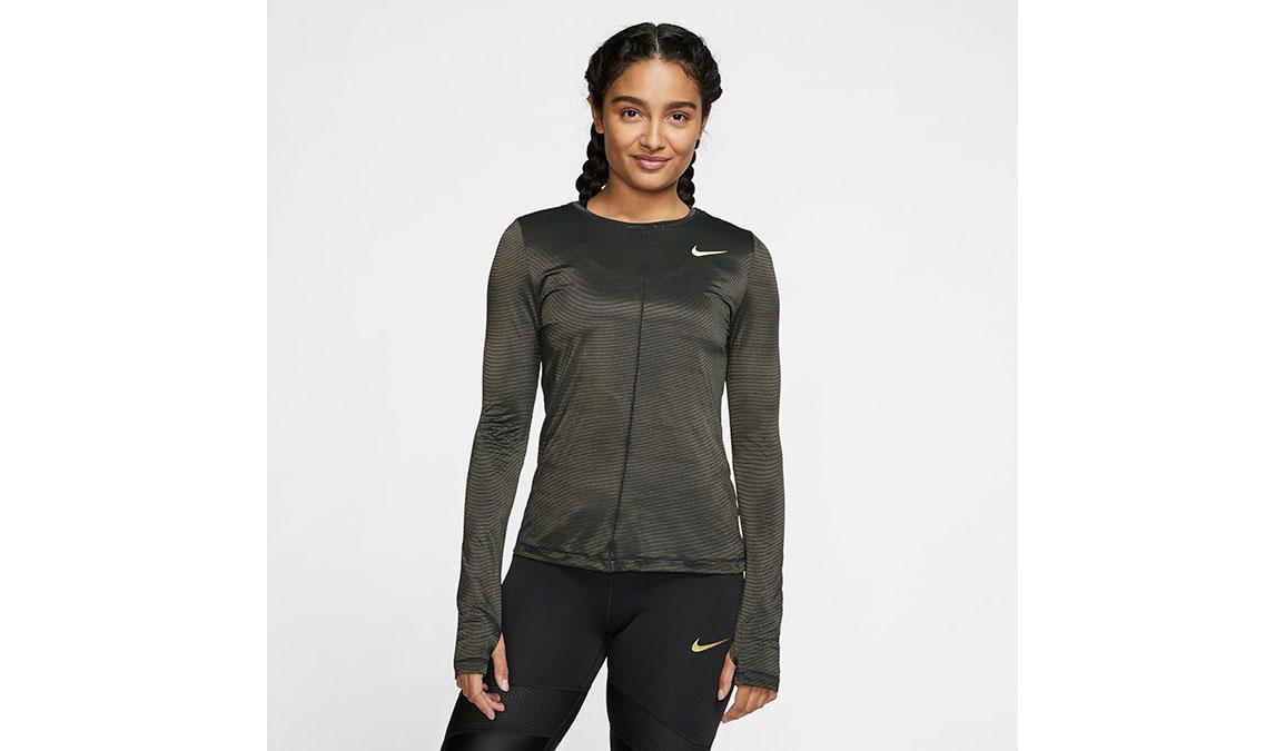 Women's Nike Miler Long Sleeve - Color: Black/Reflective Gold Size: XS, Black/Reflective Gold, large, image 1