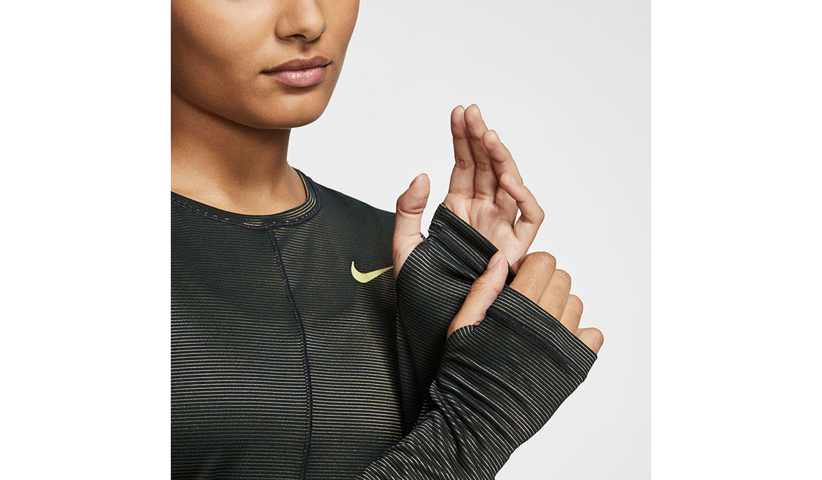 Women's Nike Miler Long Sleeve - Color: Black/Reflective Gold Size: XS, Black/Reflective Gold, large, image 4