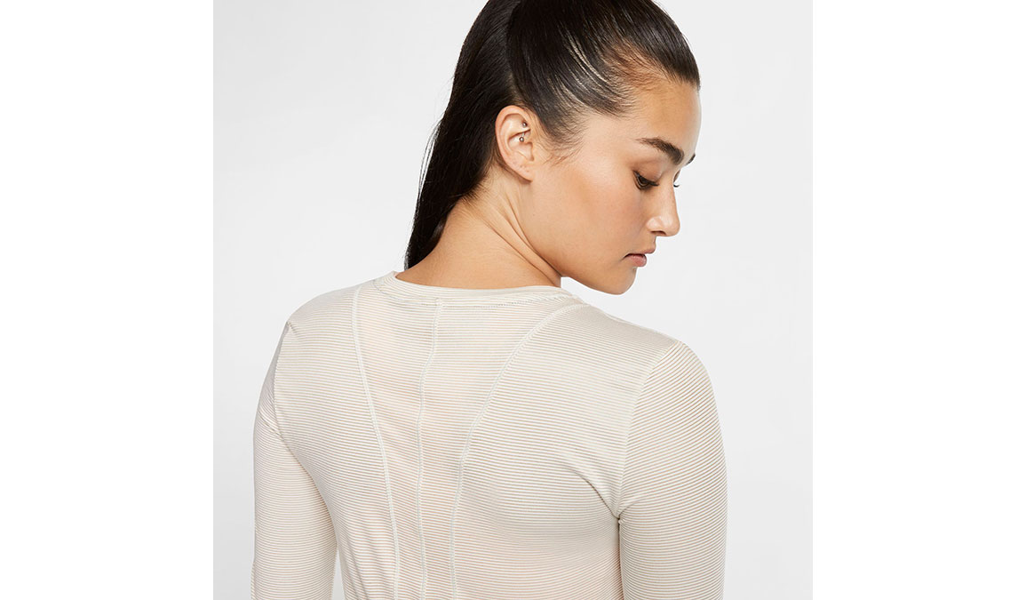 Women's Nike Miler Long Sleeve - Color: Sail/Reflective Gold Size: XS, Sail/Reflective Gold, large, image 3