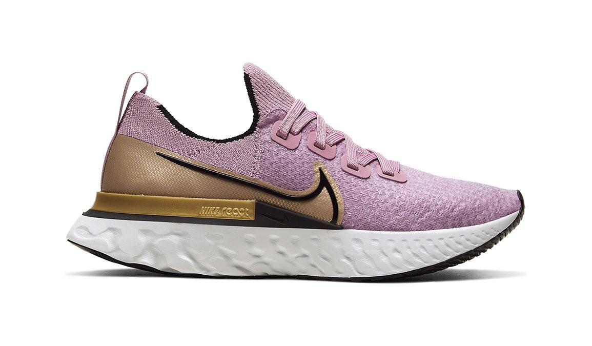 Women's Nike React Infinity Run Flyknit Running Shoe - Color: Plum Fog/Metallic Gold (Regular Width) - Size: 5, Plum Fog/Metallic Gold, large, image 1
