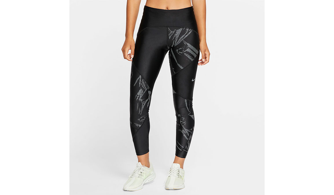Women's Nike Speed 7/8 Running Tights - Color: Black/Reflective Silver Size: XS, Black/Reflective Silver, large, image 1