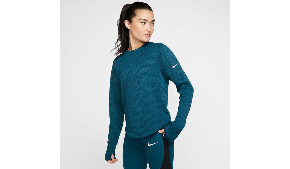 Women's Nike Sphere Element Crew Top - Color: Midnight Turqouise/Reflective Silver Size: XS, Midnight Turqouise/Reflective Silver, large, image 1