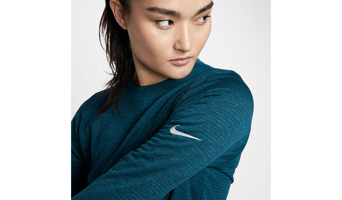 Women's Nike Sphere Element Crew Top - Color: Midnight Turqouise/Reflective Silver Size: XS, Midnight Turqouise/Reflective Silver, large, image 3