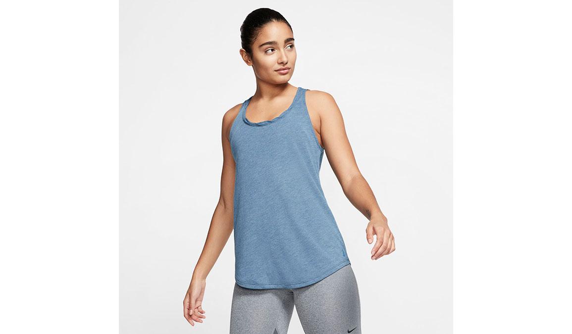 Women's Nike Yoga Twist Tank - Color: Valerian Blue/Heather/Industrial Blue Size: XS, Valerian Blue/Heather/Industrial Blue, large, image 1