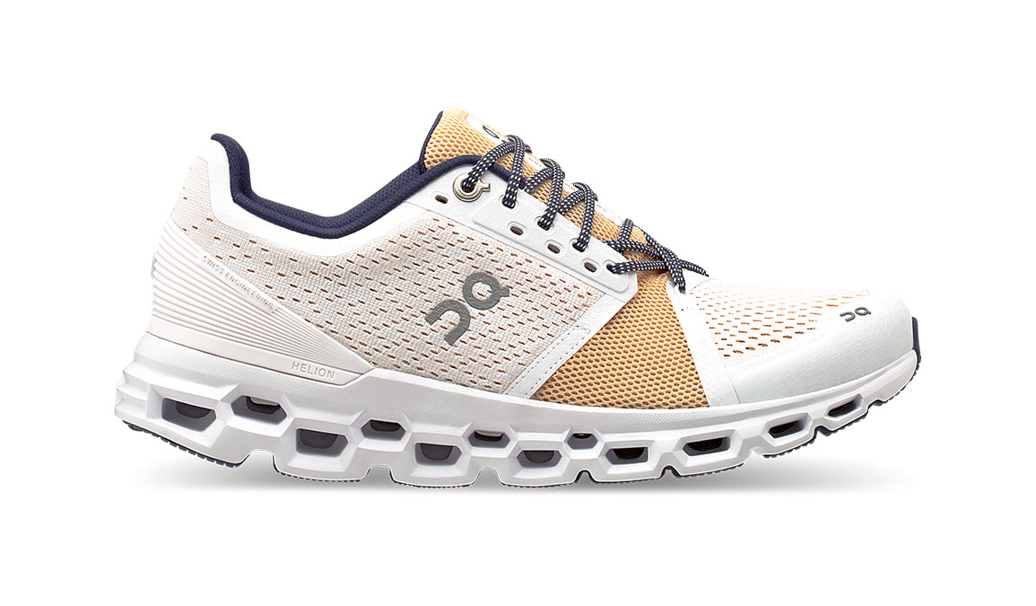 Women's On Cloudstratus Running Shoe - Color: White/Almond (Regular Width) - Size: 5, White/Almond, large, image 1