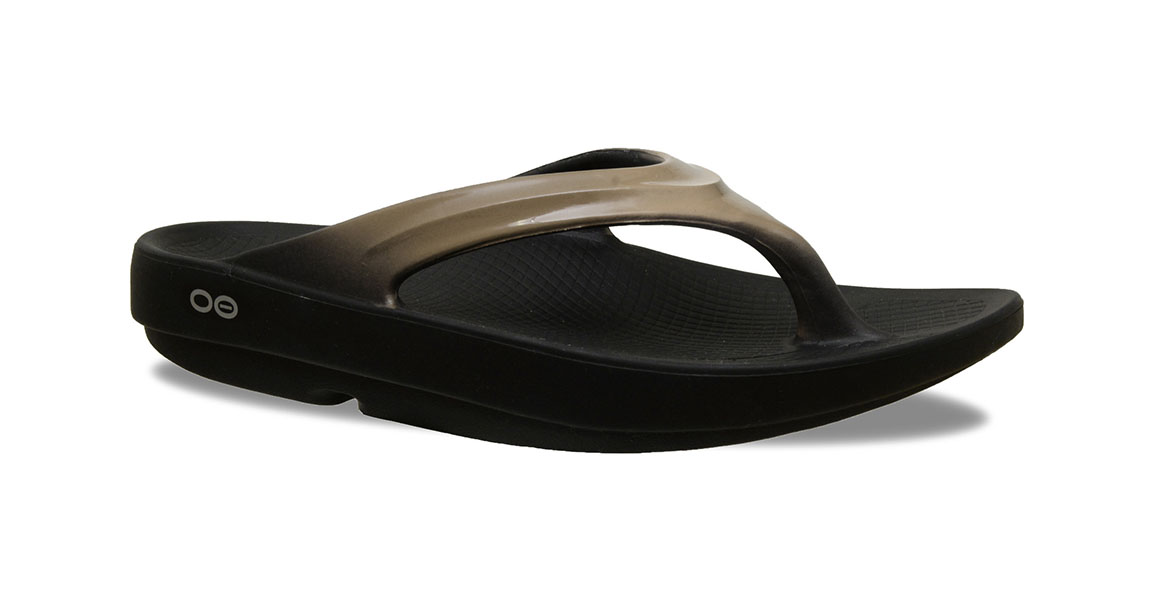 Women's Oofos OOlala Thong Recovery Sandal - Color: Black/Latte - Size: 6, Latte, large, image 1