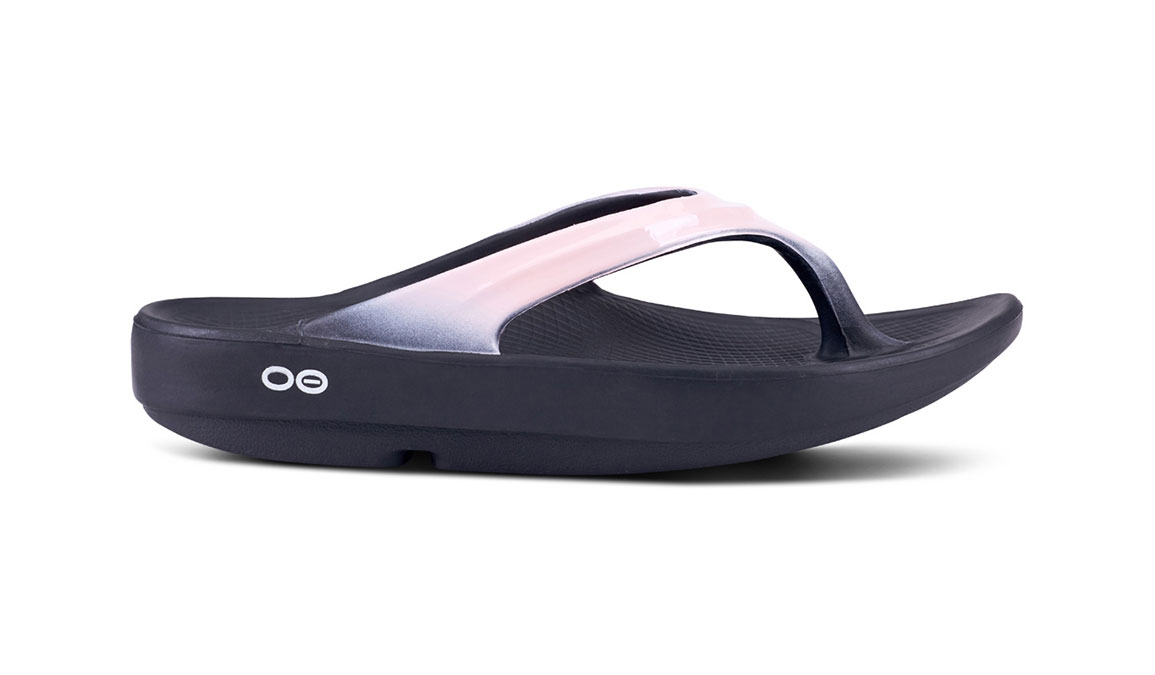 Women's Oofos OOlala Luxe Recovery Sandal - JackRabbit EXCLUSIVE - Color: Black/Blush (Regular Width) - Size: 8, Black/Pink, large, image 2