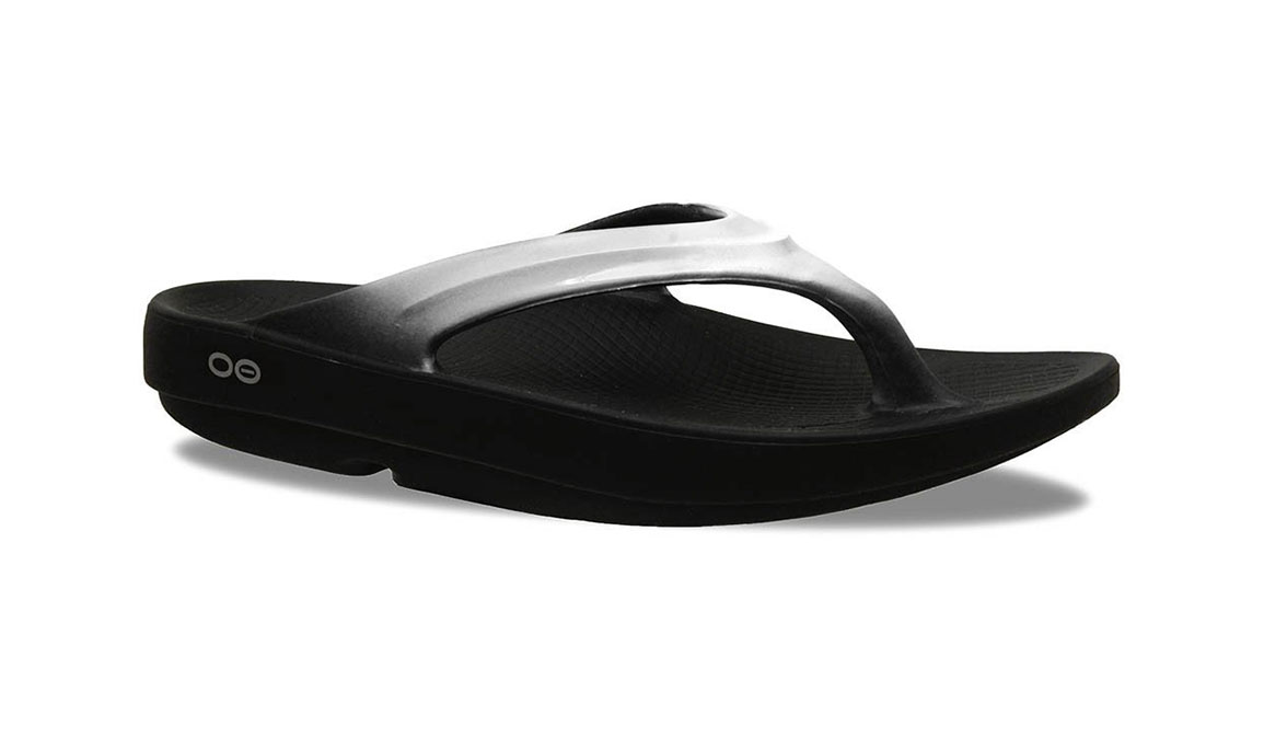 Women's Oofos OOlala Thong Recovery Sandal - Color: Black/Cloud - Size: 7, Black/White, large, image 1