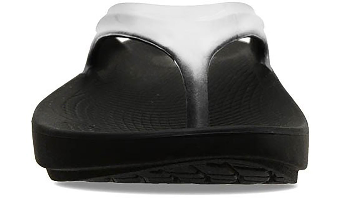 Women's Oofos OOlala Thong Recovery Sandal - Color: Black/Cloud - Size: 7, Black/White, large, image 3