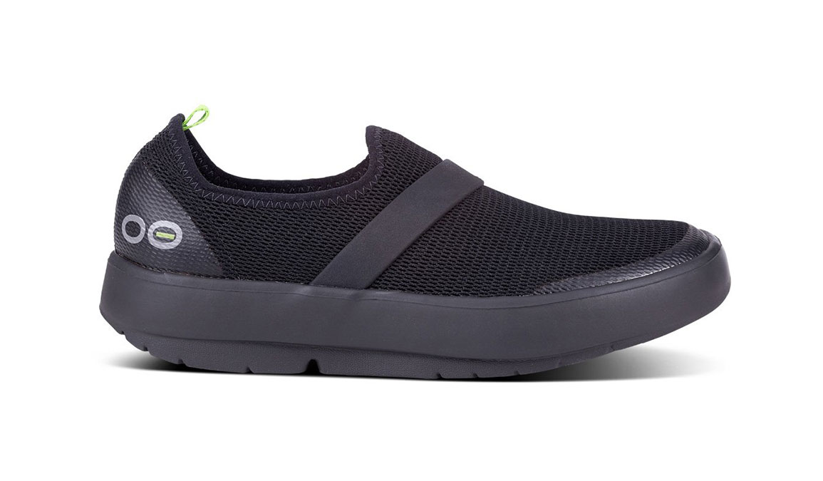 Women's Oofos OOmg Low Slip-On Recovery Shoe - Color: Black/Black (Regular Width) - Size: 6, Black, large, image 1