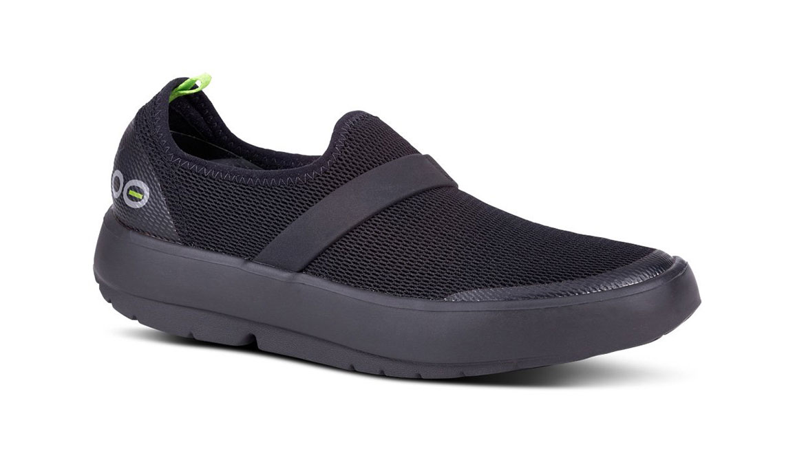 Women's Oofos OOmg Low Slip-On Recovery Shoe - Color: Black/Black (Regular Width) - Size: 6, Black, large, image 2