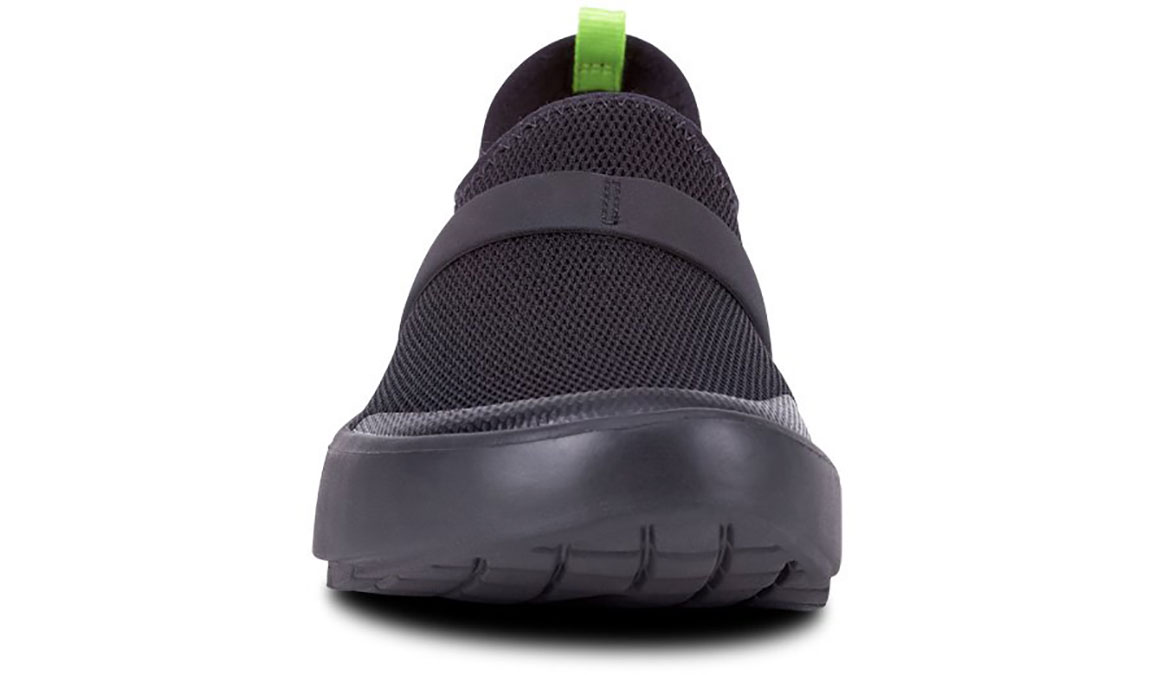 Women's Oofos OOmg Low Slip-On Recovery Shoe - Color: Black/Black (Regular Width) - Size: 6, Black, large, image 3