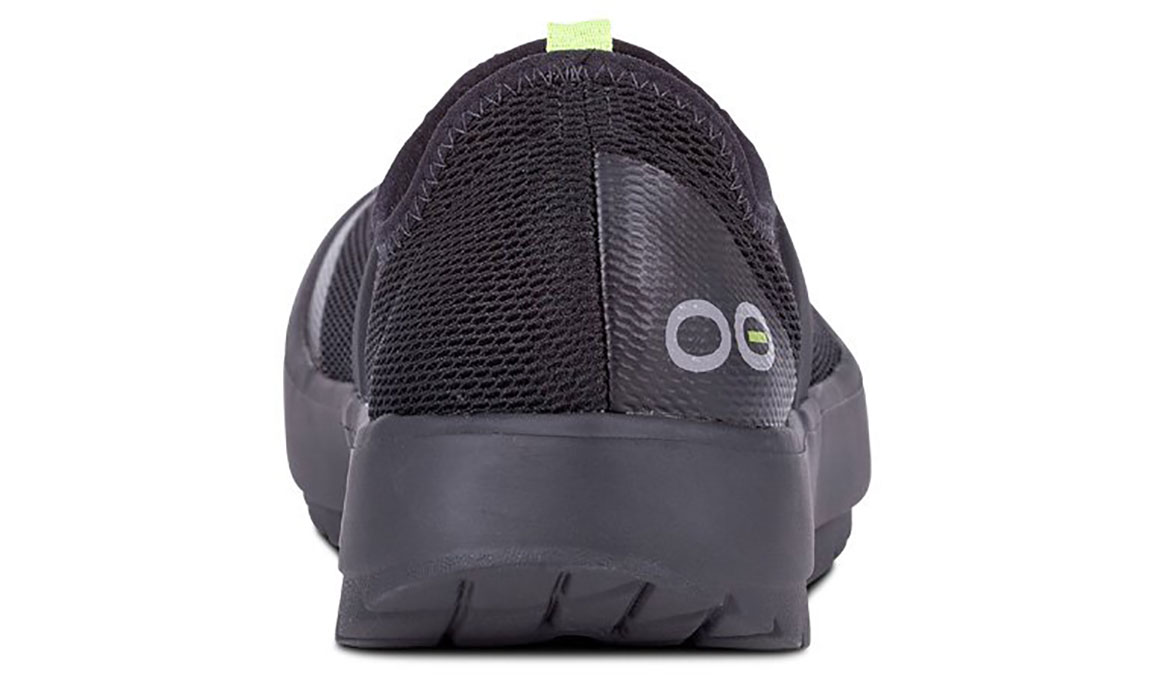 Women's Oofos OOmg Low Slip-On Recovery Shoe - Color: Black/Black (Regular Width) - Size: 6, Black, large, image 4