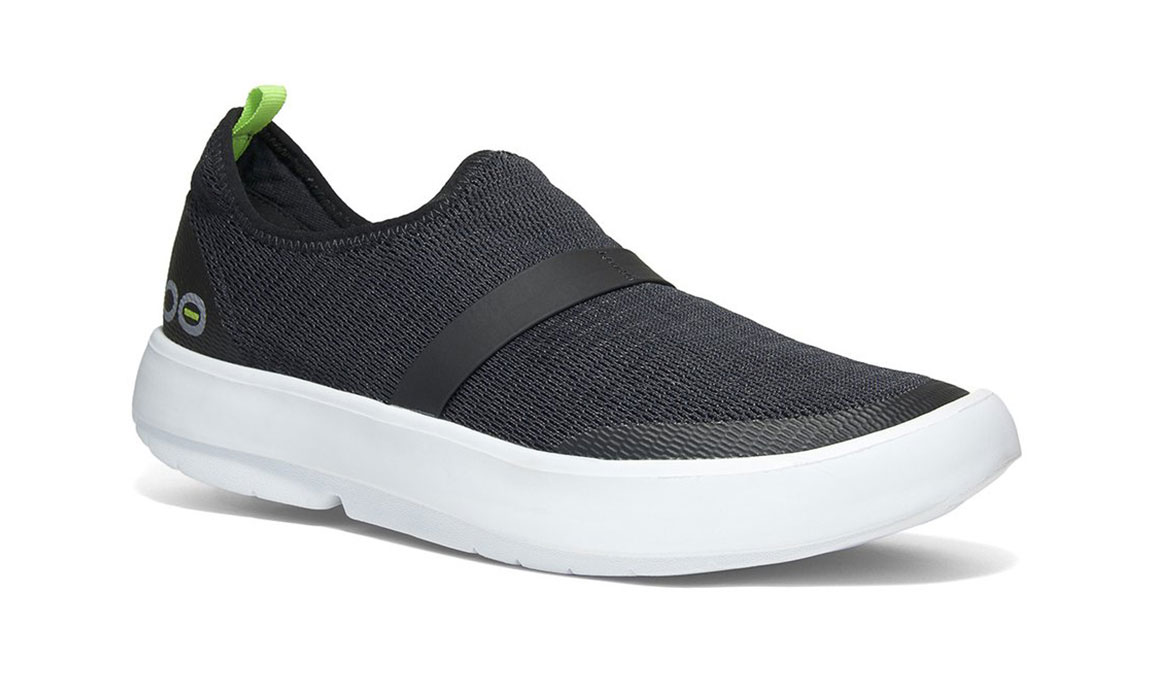 Women's Oofos OOmg Low Slip-On Recovery Shoe - Color: Black/White - Size: 5 - Width: Regular, Black/White, large, image 1